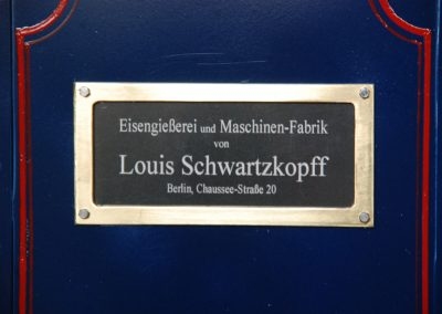 Dampfzugmaschine, Detail Fabrikschild